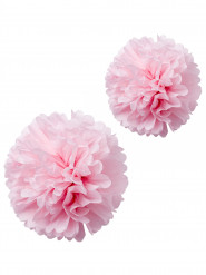 2 Pompons papier de soie rose 40 et 50cm