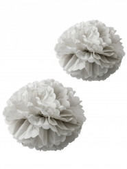 2 Pompons papier de soie gris 40 et 50 cm