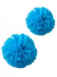 2 pompons papier de soie turquoise 40 et 50 cm
