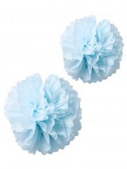 2 pompons papier de soie ciel 40 et 50cm