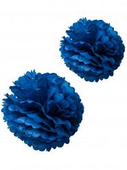 2 pompons papier de soie marine 40 et 50 cm