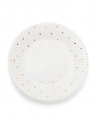 12 Petites assiettes en carton blanches à pois dorés 18cm
