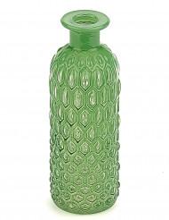 Bouteille en verre relief vert 16 cm