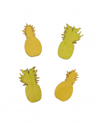24 Confettis ananas en bois jaune et vert 5.5 cm