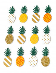 12 Stickers Ananas 3D 4 x 1.8 cm.