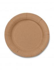 12 Petites assiettes en carton kraft 18cm