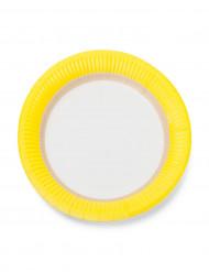 12 Petites assiettes en carton sorbet citron 18cm