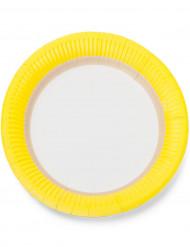 12 Assiettes en carton sorbet citron 23cm