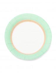 12 Petites assiettes en carton sorbet menthe 18cm