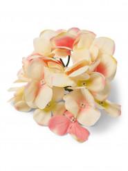6 Fausses fleurs hortensias ivoire rose