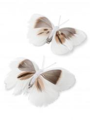 2 Papillons sur pince blanc et beige