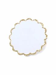 12 Etiquettes adhésives blanches et or