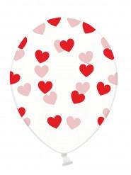 6 Ballons transparents coeurs rouges