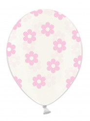 6 Ballons transparents fleurs rose clair