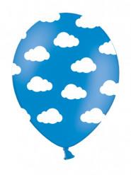 6 Ballons en latex bleus nuages blancs 30 cm