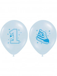 6 Ballons en latex 1 an garçon 30 cm