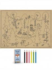 6 Coloriages avec crayons Forêt pour enfant