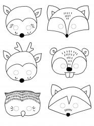 6 Masques à colorier Forêt pour enfant