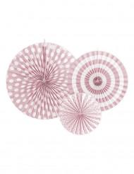 4 Rosaces en papier rose clair
