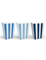 6 Boîtes à popcorn bleues