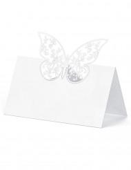 10 Marque-places en carton papillon blancs 9 x 5 cm