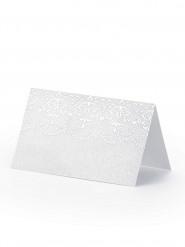 10 Marque-places en carton arabesques blancs 8 x 4,5 cm