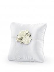 Coussin satin blanc avec fleurs
