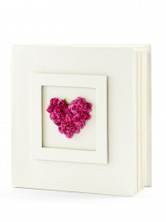 Livre d'or ivoire avec coeur en roses fuchsia