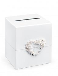 Urne blanche avec coeur de roses 23,5 x 24 cm
