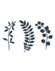 9 Décorations de table feuilles bleu marine