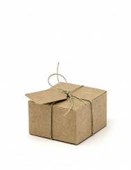10 Boites en carton carrés avec étiquettes 6 cm