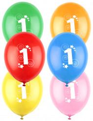 12 Ballons différentes couleurs chiffre âge 1