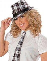 Cravate punk carreaux blanc et noir femme