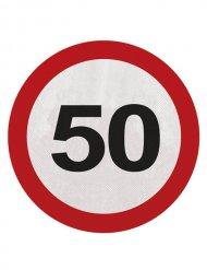 20 Serviettes 50 ans rouge blanc