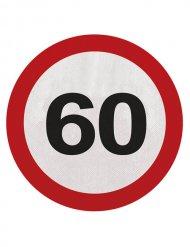 20 Serviettes 60 ans rouge blanc