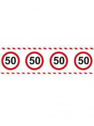 Ruban 50 ans anniversaire rouge blanc 15 m x 7,5 cm