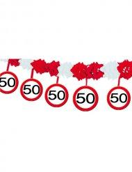 Guirlande 50 ans rouge blanc