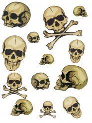 Set stickers autocollants crânes d'Halloween