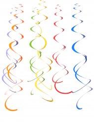 12 Suspensions spirales à suspendre multicolores 55 cm