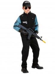 Déguisement police SWAT noir et bleu garçon