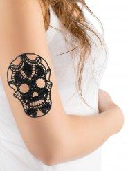 Bijoux de peau crâne noir en dentelle Halloween