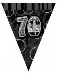 Guirlande fanions gris Age 70 ans 2,74 m