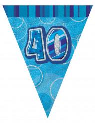 Guirlande fanions bleu Age 40 ans 2,74 m