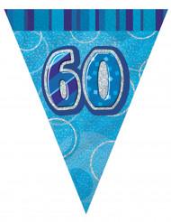 Guirlande fanions bleu Age 60 ans 2,74 m