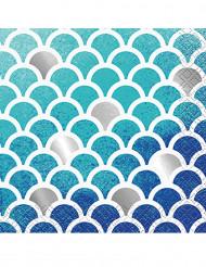 16 Petites serviettes en papier Sirène 24.5 x 24.5 cm
