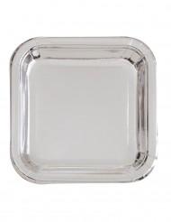 8 Assiettes carrées en carton métallisé argent 23 cm