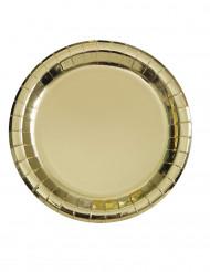 8 Petites assiettes en carton métallisé or 18 cm
