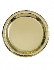 8 Assiettes en carton métallisé or 23 cm