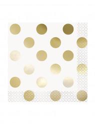 16 Petites serviettes en papier blanc à pois or 25 x 25 cm