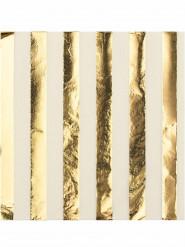 16 Serviettes en papier blanches et dorées 33 x 33 cm